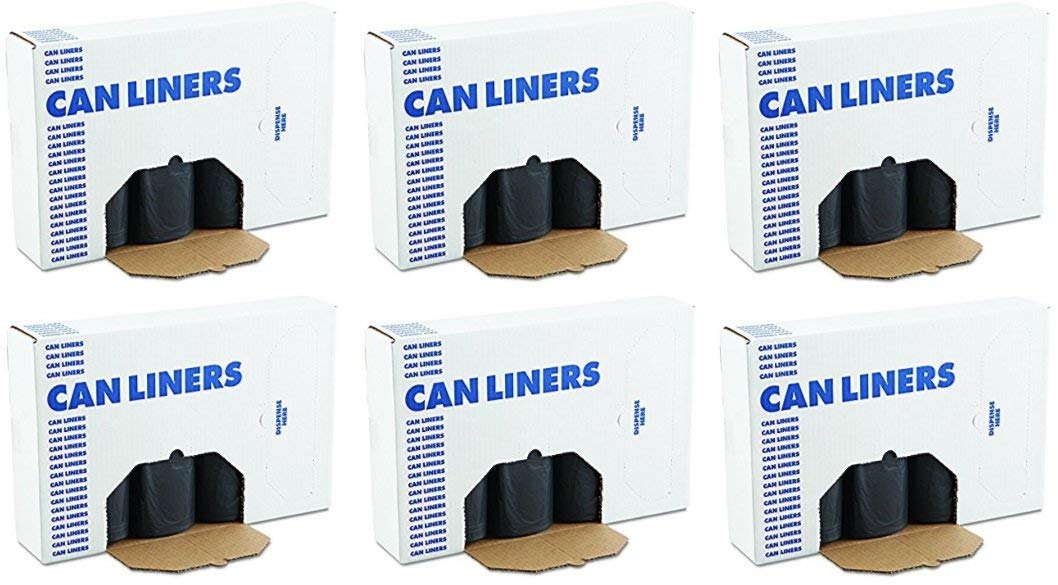 LCTLX 517 Super Heavy Grade Can Liners, 40 x 46, 40-45gal, Black, 10 Bags Per Roll, 6 Cases of 10 Rolls