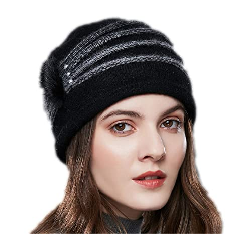 7a449dfca1426 Pearl Decoration Cashmere Knitted Hat Female Oblique Stripes Winter Hats  Women Thick Warm Beanies 01