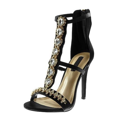 7ec42c3c2a85d Angkorly - Chaussure Mode Escarpin Sandale Stiletto Montante salomés Femme  Strass Diamant Bijoux Multi-Bride
