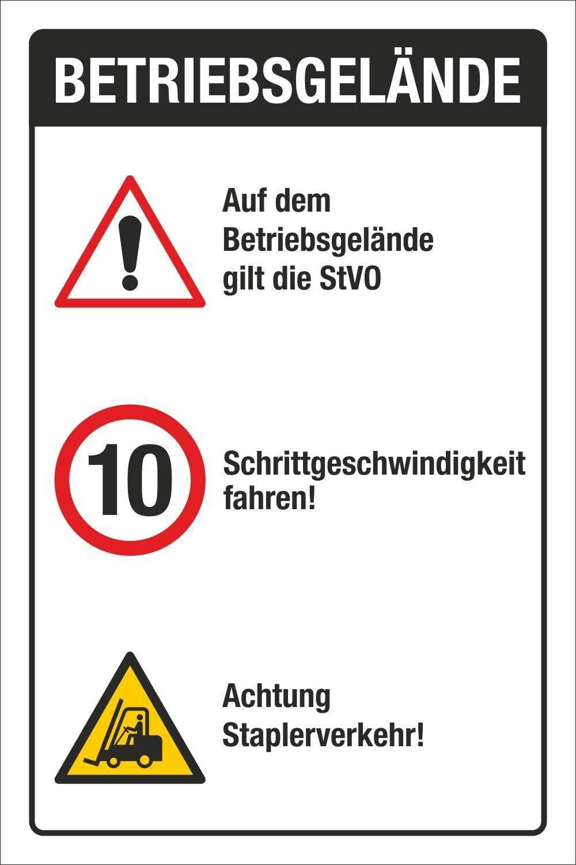 Schild Betriebsgel/ände StVO Schritt Fahren Staplerverkehr 3 mm Alu-Verbund 300 x 200 mm