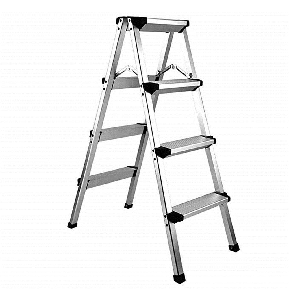Four-step stool WOAINI Aluminum Step Ladder Folding Non-Slip Lightweight 330lbs Capacity Platform Stool Folding Stepladder Step Stool With Dual Side Non-Slip And Wide Pedal For Household Work Use Silver