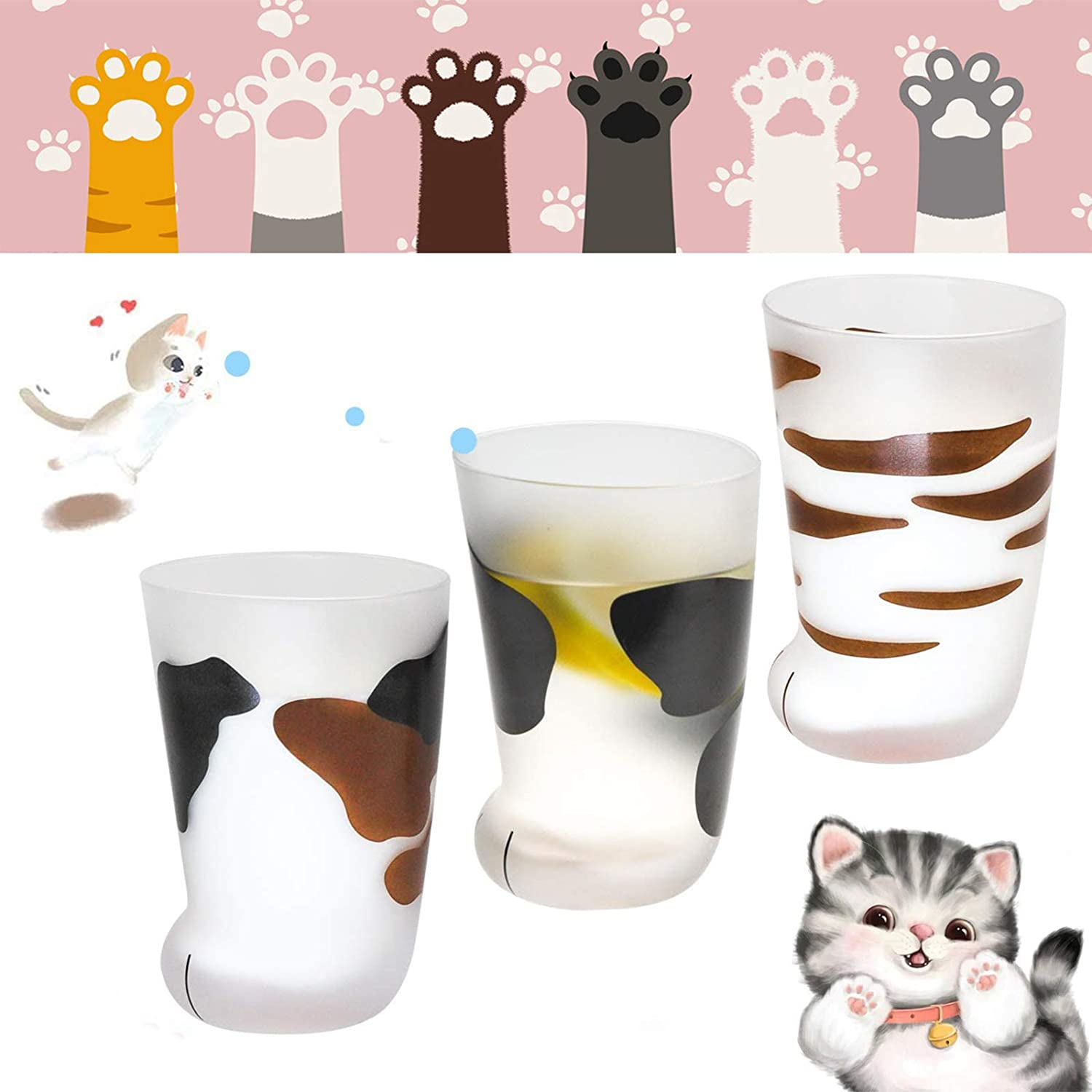 N//G Cat Paw Cup Milk Glass Frosted Glass Cup Cute Cat Foot Claw Print Mug for Coffee Kids Milk Glass Cups Tumbler Personality Breakfast Milk Cup Men and Women Household Cups Birthday Gift A+B+C