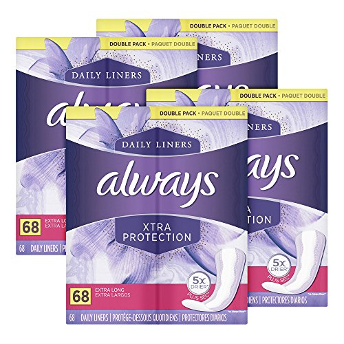 Always Xtra Protection Daily Liners, Extra Long Feminine Panty Liners, 68 Count - Pack of 4 (272 Total - Panty Shape Body Liners Carefree