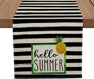 Artoid Mode Watercolor Stripes Hello Summer Table Runner, Seasonal Pineapple Summer Holiday Kitchen Dining Table Runner for Home Party Decor 13 x 72 Inch