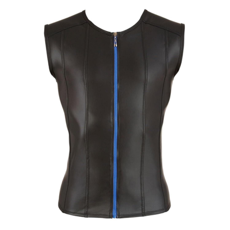 Herrenshirt im Leder-Look mit Reißverschluss S - XXL Schwarz Svenjoyment Underwear Größe Large