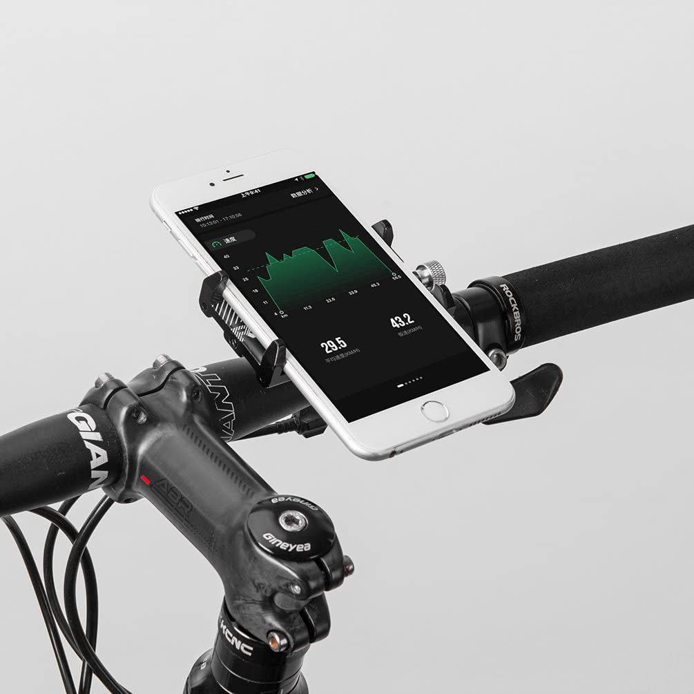 ROCK BROS Bike Phone Mount for iPhone 11 X XR 8 Plus 7 6 Motorcycle Bicycle Handlebar Phone Holder Cradle Clamp Universal Lightweight Aluminum 3.5-6.5 Inches Red