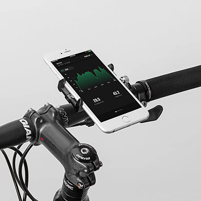 ROCK BROS Bike Phone Mount for iPhone 11 X XR 8 Plus 7 6 Motorcycle Bicycle Handlebar Phone Holder Cradle Clamp Universal Lightweight Aluminum 3.5-6.5 Inches Silver