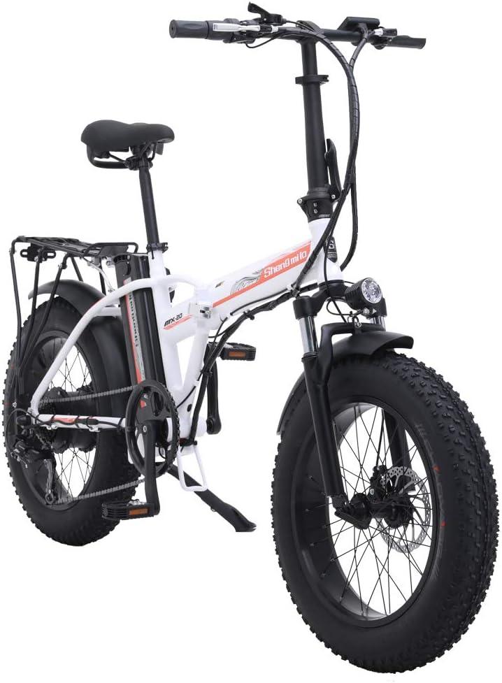 Shengmilo 500W Bicicleta eléctrica Plegable Montaña Nieve E-Bike Ciclismo de Carretera, Neumático Gordo de 4 Pulgadas, Shimano 7 Velocidad Variable (Blanco): Amazon.es: Deportes y aire libre