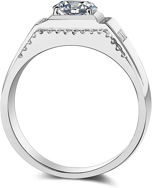 ENYU Homme Bagues en Argent zircone pour Bijoux Hommes Bagues de Mariage Promesse de Mariage Anniversaire Cadeau