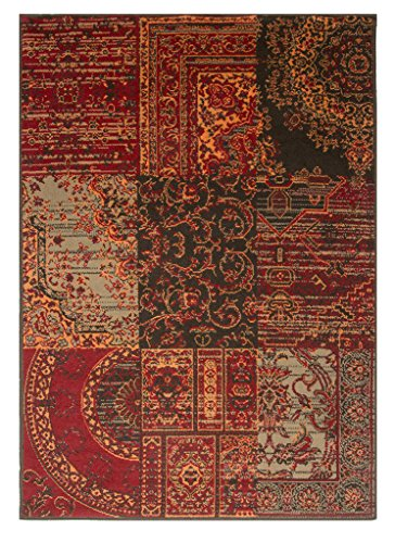 Milan Warm Red Brown Burnt Orange & Gray Rug Traditional Living Room Area Rugs - 4' x 5'6