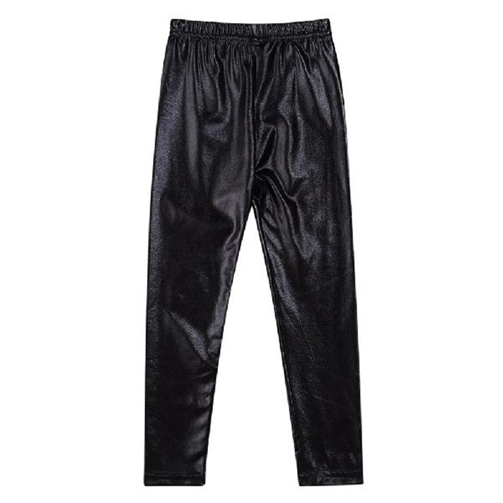 Whobesta Girl Leggings Elastic Sequined Waterproof Windproof Stain-Proof Ninth Trousers Black 7T