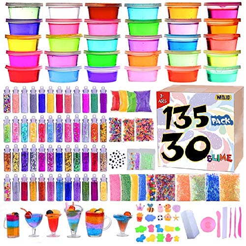 Slime Supplies Kit, 135 Pack Slime Making Kit 30 Crystal Slime, Glitter Jars, Charms, Sugar Paper, Foam Beads, Fishbowl Beads, Toy Cups, Slices, Air Dry Clay and Tools for Kids Girls by WINLIP -