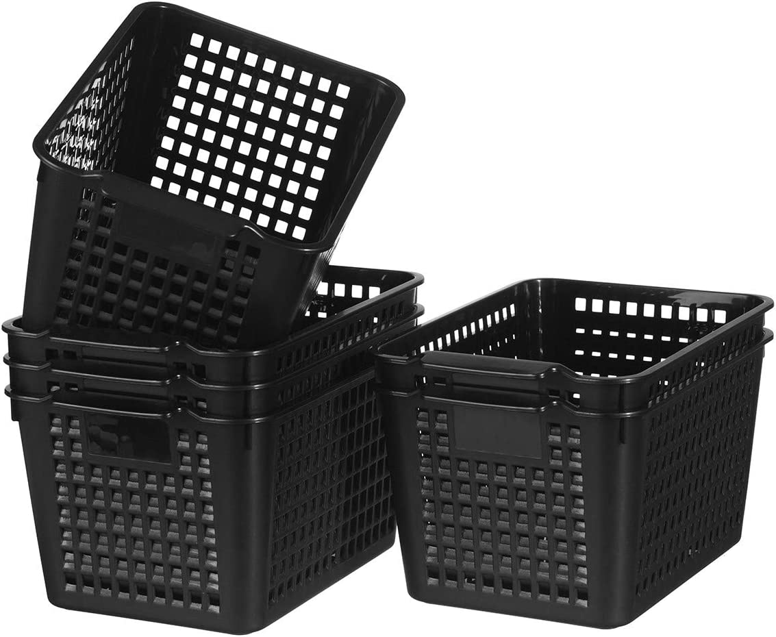 YXB Plastic Storage Baskets - 6 Packs Plastic Baskets Organizer Black Plastic Storage Trays Baskets for Office Home Bathroom Kitchen Bedroom