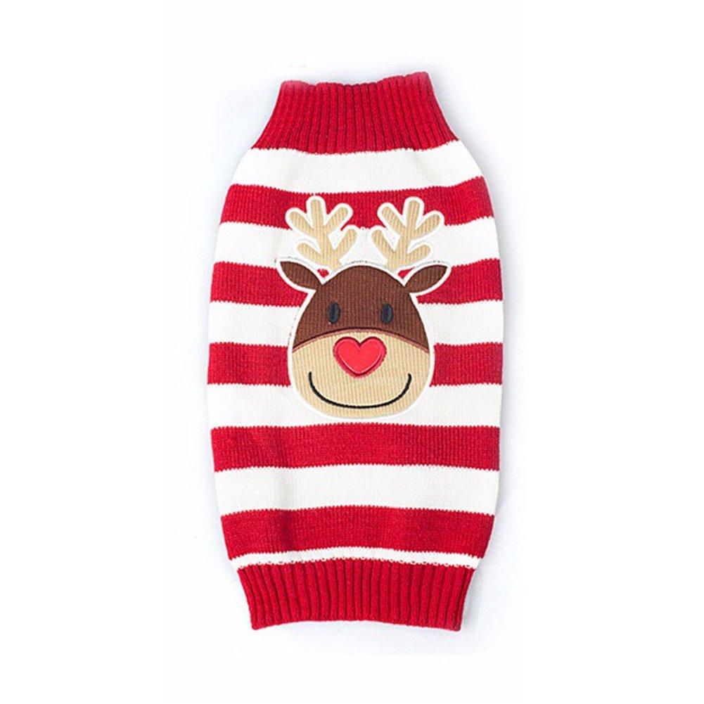 BOBIBI Pet Cartoon Reindeer Christmas Dog Sweater Pet Winter Knitwear Warm Clothes Small