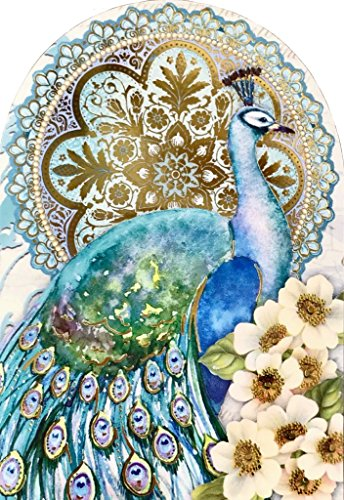 Punch Studio Set of 6 Small Die-Cut Embellished Blank Note Cards ~ Teal Peacock 14523
