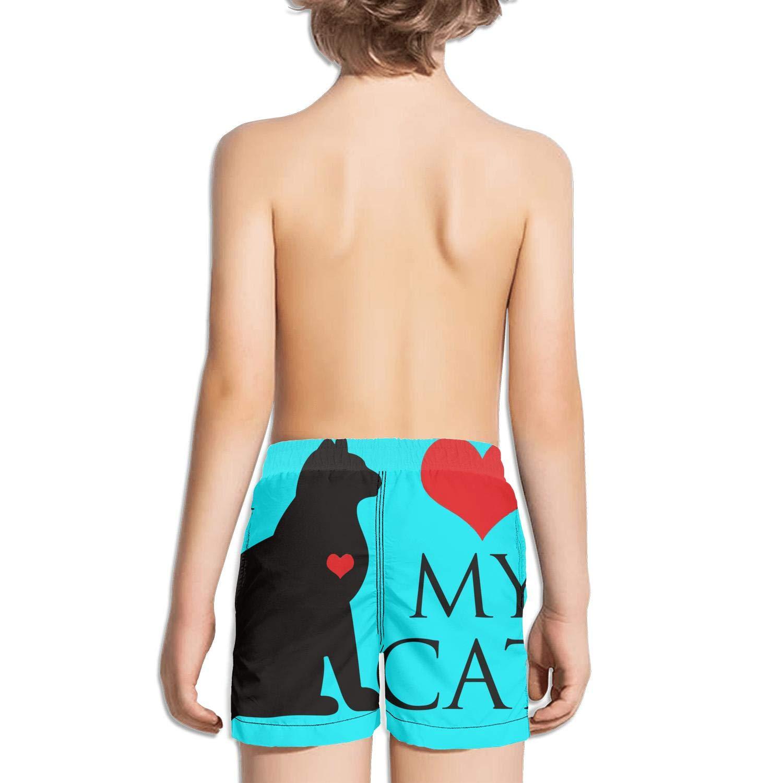 I Love Cats Face Girls Pocket Slim Fit Elastic Medium Length Beach Short