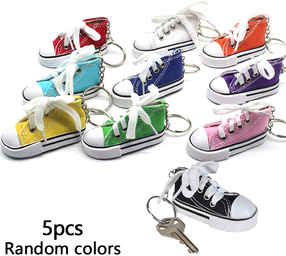 Random Color 5 Pcs Motorcycle Bicycle Foot Support Decor Motorcycle Kickstand Pad Mini Canvas Finger Shoes Sneaker Keychains