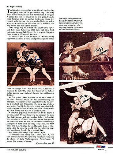 Billy Soose & Tony Zale Autographed Signed Magazine Page Photo S48715 PSA/DNA Certified Autographed Boxing Magazines