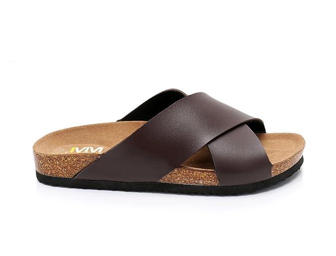 68f7797d7085 Amazon.com  Women Open Toe Criss-Cross Strap Slide Cork Sandals Roman  Slippers Suede Leather Sole Summer Beach Flats Shoes  Shoes