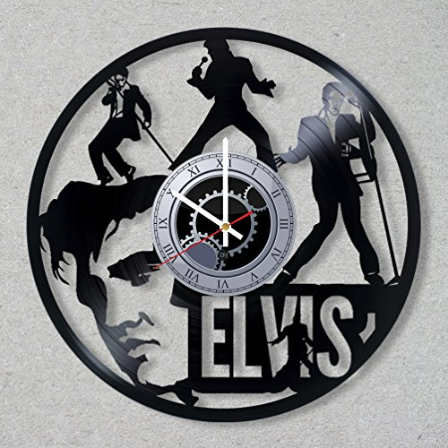 Vinyl Record Wall Clock Elvis Presley Music Legend The King Rock And Roll Guitar decor unique gift ideas for friends him her boys girls World Art Design