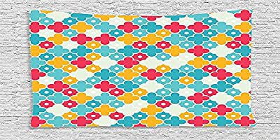 Cotton Microfiber Bathroom Towels Ultra Soft Hotel SPA Beach Pool Bath Towel Quatrefoil Colorful Petal Clover Leaves Pattern Bohemian Casual Kids Decorations Red Turquoise Yellow