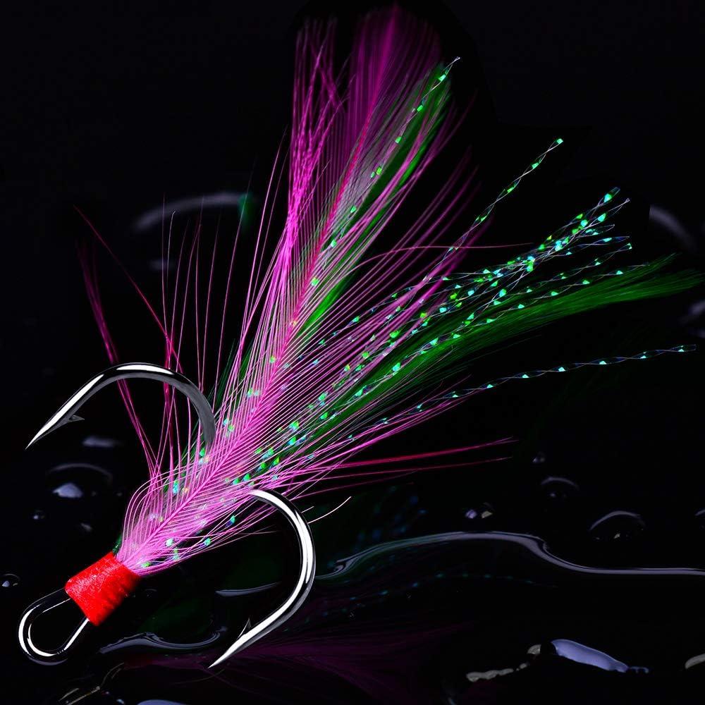 50Pcs//Box 2X Durable Feather Fishing Hooks Triple Fish Hooks Size 2//4//6//8//10#