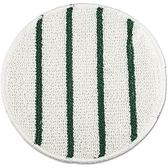 Rubbermaid Commercial RCP P271 Low Profile Scrub-Strip Carpet Bonnet, 21  Diameter, White/Green