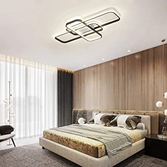 Led Bedroom Ceiling Lights Decor Living Room Modern Flush Mount Ceiling Lamp Square Design Chandelier Dimmable Warm White Light With Remote Control Kitchen Island Dining Table Office Ceiling Lighting Amazon Co Uk Lighting