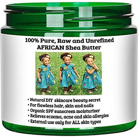 GlowAmaze Pure African Shea Butter - Natural & Organic Hair, Nails & Skin Care Body Butter - Moisturizes & Protects The Skin - Powerful Revitalizing & Soothing Effect 16oz / 1lb - Therapy Bath 1 Lb Powder