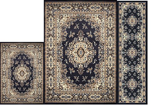 Home Dynamix Area Rugs - Ariana Collection 3-Piece Living Room Rug Set - Ultra Soft & Super Durable Home Décor - 7069-300 Navy Blue (Dining Room Sets For Cheap)
