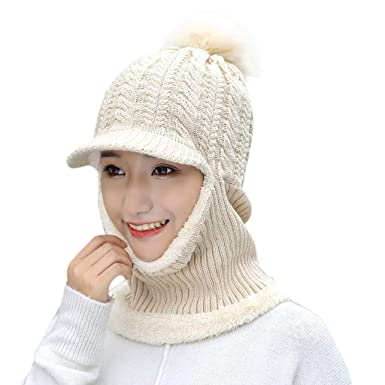 7a28c74a5e200 Anglewolf Womens Winter Rib Knitted Hat Faux Fur Bobble Pom Corkscrew Cable  Hat Plain Beanie Warm