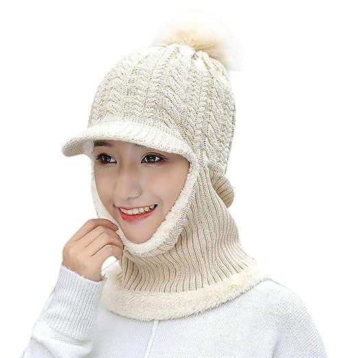 Amazon.com  Muranba Women Knit Face Mask Neck Warmer Balaclava Hat Winter  Ski Cycling Cap  Clothing 948af95f8ae5