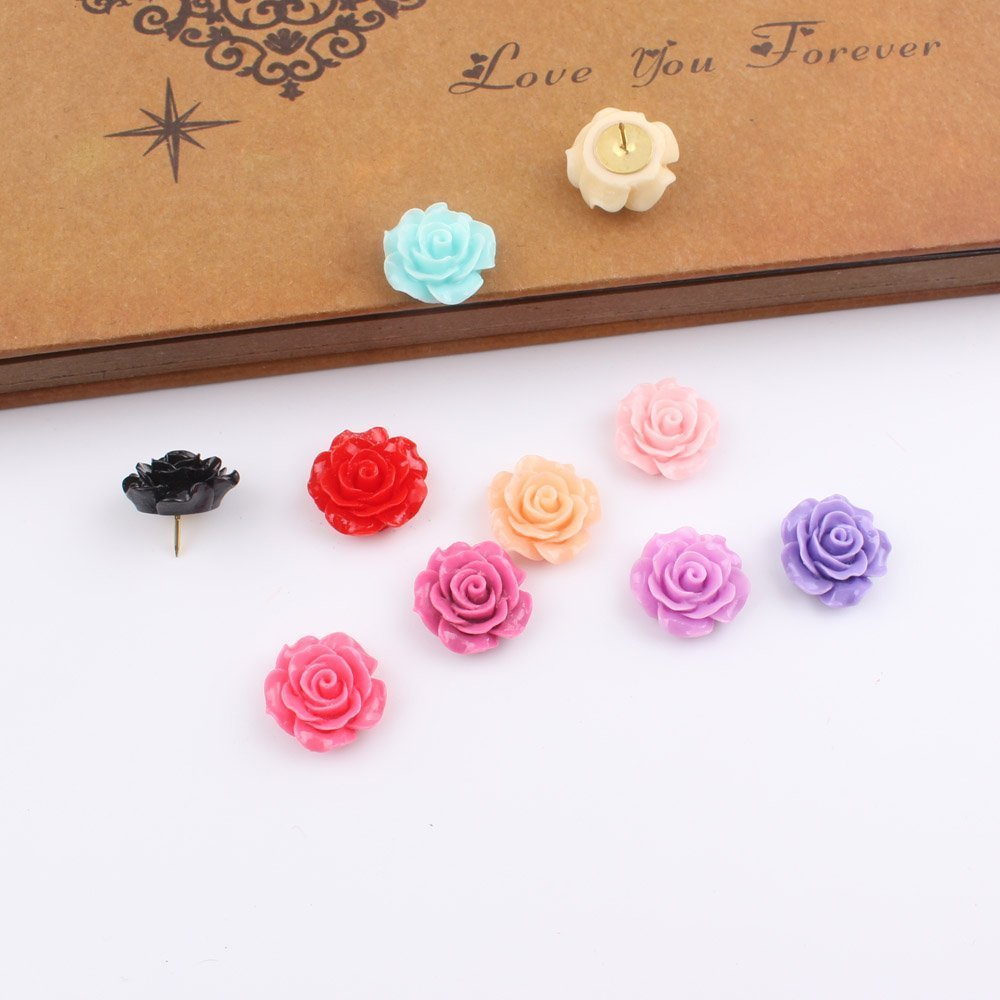 Yalis 12 Pcs Creative Office Decorative Thumbtacks Colorful Floret Pushpins for Home Office Cork Board Photo Wall, Assorted Color (Rose) Yalis-PPF