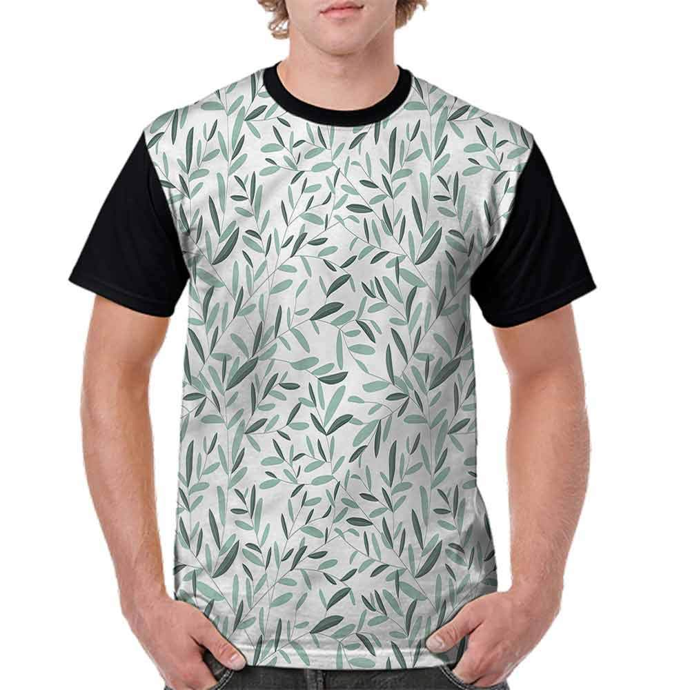 BlountDecor Round Neck T-Shirt,Delicate Branches Repeating Fashion Personality Customization