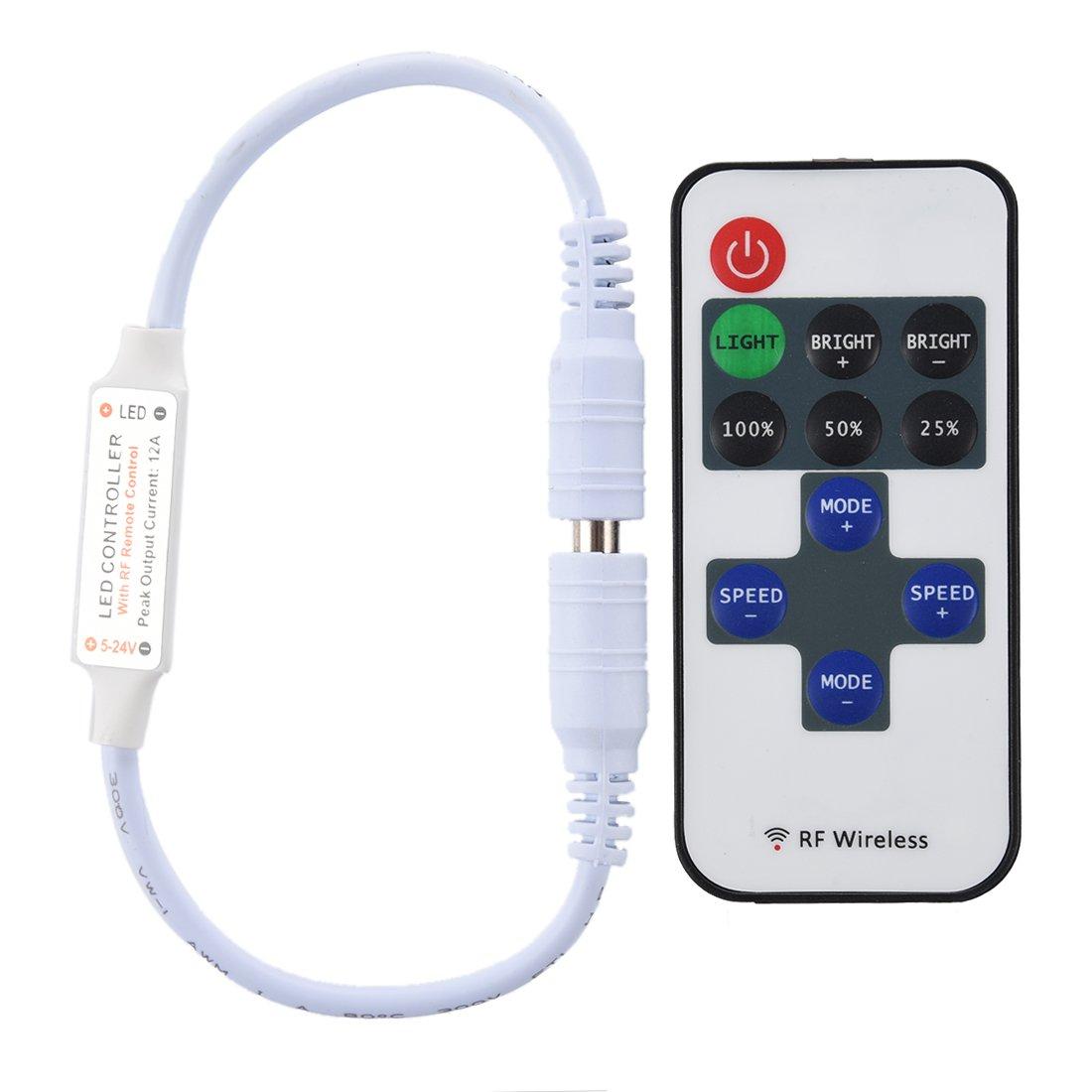 TOOGOO(R) Controlador FB y Dimmer para solo color LED tira flexible 12A DC 5V-24V CALIENTE 012029