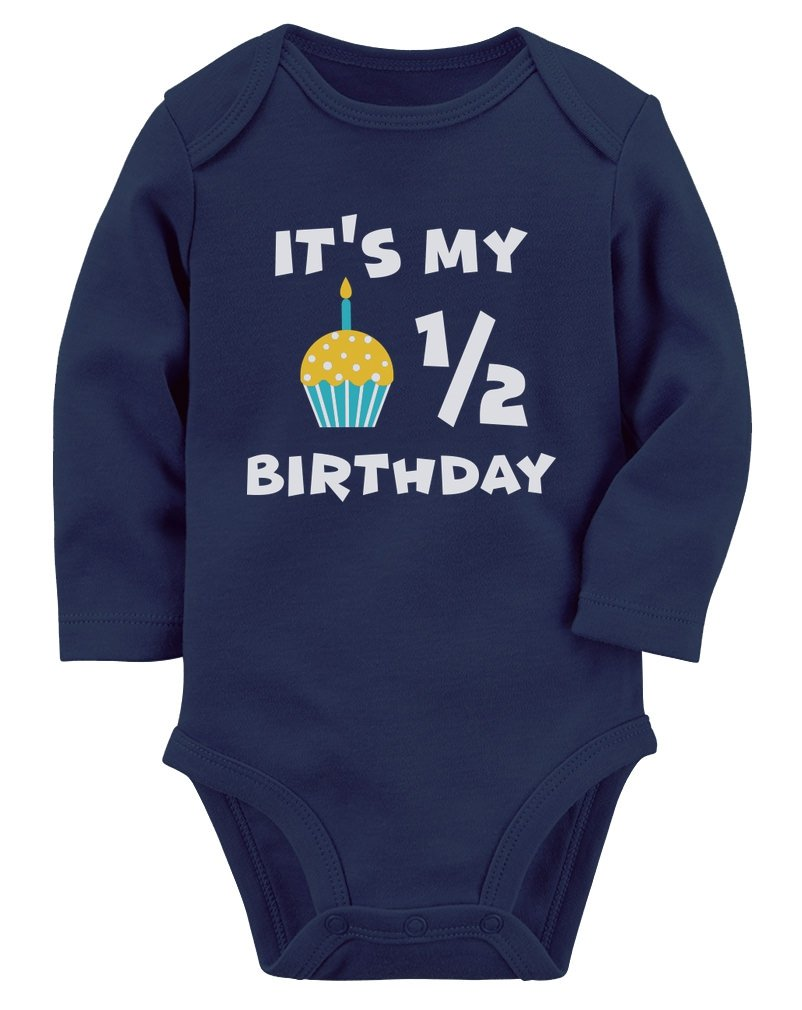 Tstars It's My Half Birthday Gift for Baby 1/2 Birthday Baby Long Sleeve Bodysuit