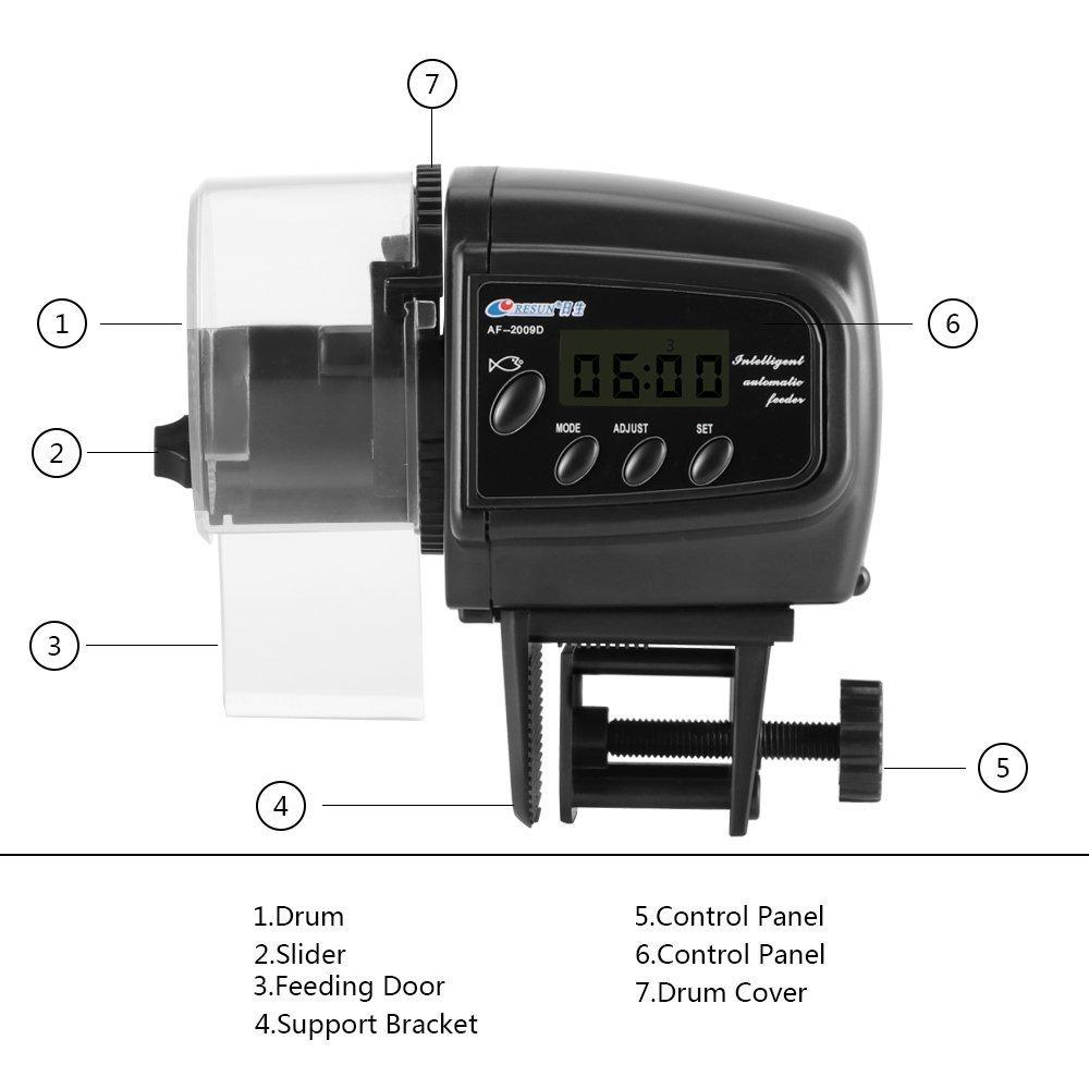 Lychee acuario alimentador automático de pescado alimentador de tanque alimentador automático con pantalla LCD (2005D): Amazon.es: Productos para mascotas