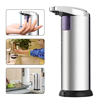 Dispensador de Jabón Automático, Pomisty Lotion Shampoo 280ml automático con sensor infrarrojo sin contacto y base impermeable para cocina o baño: ...