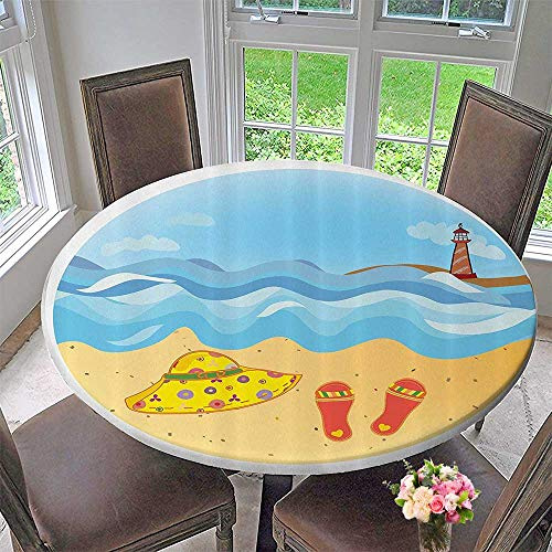 Elasticized Table Cover Minimal Doodle Lighthouse ACH Sea Waves Sand Hat Slippers Clouds 40