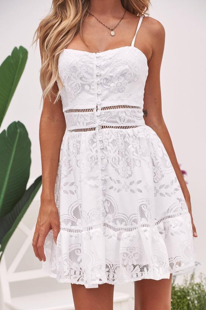 Vestido de mujer dulce - Saihui Vintage 1950 sin mangas floral encaje empalme botones abajo Swing fiesta vestido medium blanco: Amazon.es: Hogar