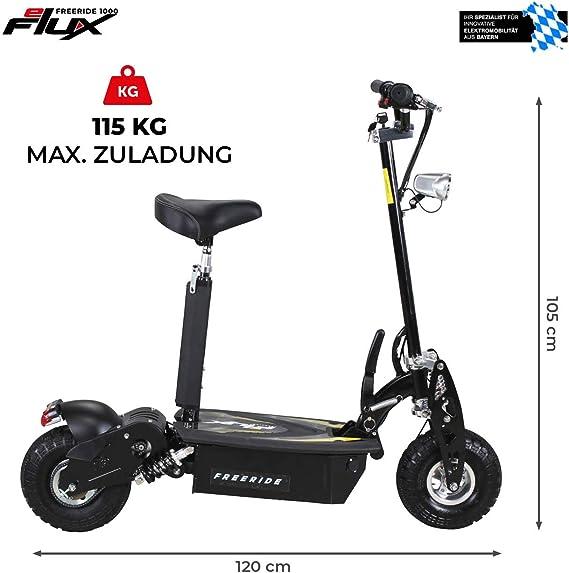 E Scooter Roller Original E Flux Freeride 1000 Watt 48 V Mit Licht Und Freilauf Elektroroller E Roller In Vielen Farben Schwarz Sport Freizeit