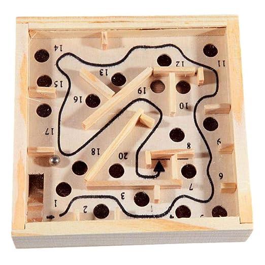 KKRIIS Juego de Mesa Mini Laberinto de Madera en Maze Puzzle ...