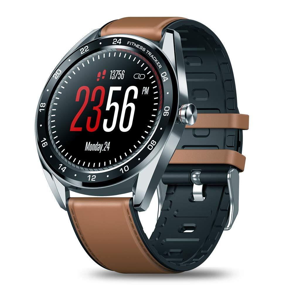 RONSHIN Smart Watches Color Touch Heart Rate Blood Pressure Monitor Female Health Waterproof Watch for Gifts Brown by RONSHIN