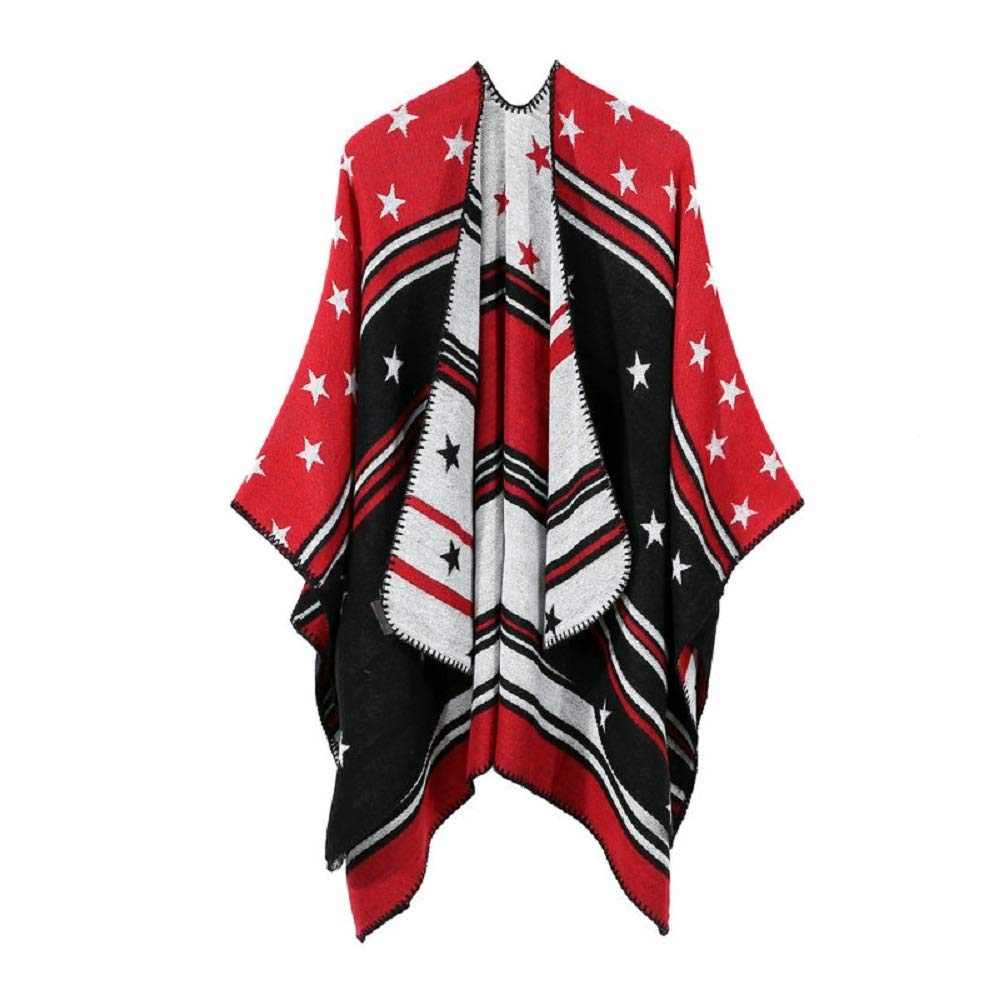 Excellent Women's Fall Winter Scarf Cloak Tassel Cape Mantle Scarf Ardent Balmy Kerchief Wrap Shawl Scarves (Color : Red, Size : 51.1 x 59.06 Inch') by Excellent