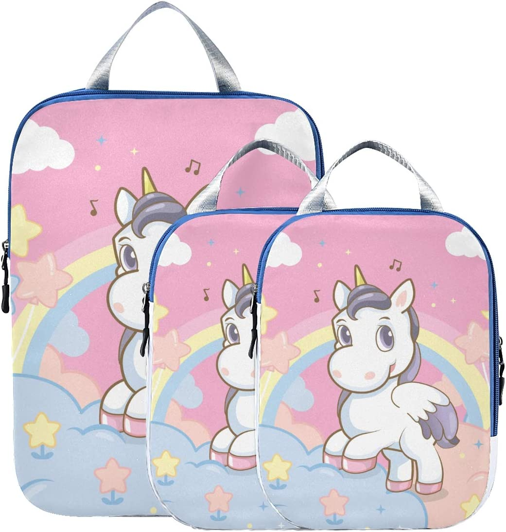 Princess Rainbow The Sky 3 Set Packing Cubes,2 Various Sizes Travel Luggage Packing Organizers l