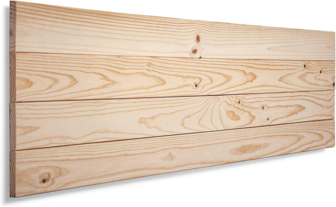 SUENOSZZZ-ESPECIALISTAS DEL DESCANSO Cabecero de Cama de Madera TREVINCA Color Crudo para Pared. Cabecero de Tablas Horizontales. Estilo Vintage, para Camas de 150