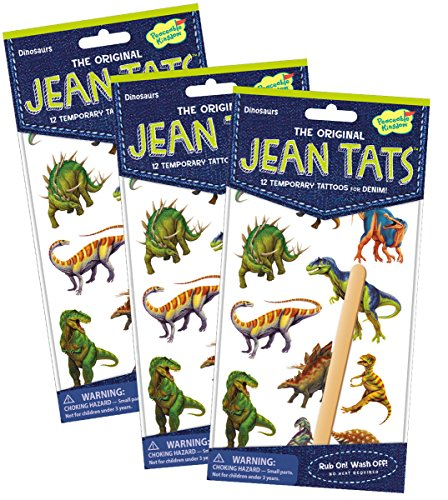 [Peaceable Kingdom Jean Tats Dinosaurs Temporary Tattoos for Fabric - 3 Pack] (Make Your Own Halloween Costume With Clothes)