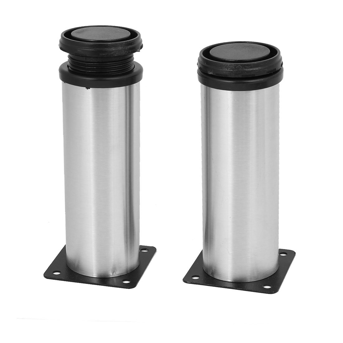 uxcell Bathroom Cabinet 50mm x 150mm Metal Adjustable Leg Feet Round Stand 2PCS