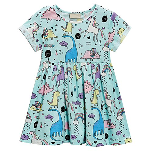 HILEELANG Little Girls Cotton Dress Short Sleeves Casual Summer Striped Printed - Dress A Kind