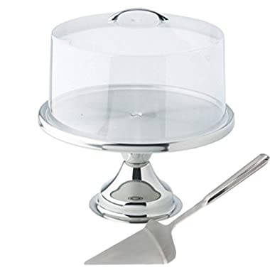 Tiger Chef 13  Stainless Steel Cake Stand Set With Acrylic Cover And Pie Spatula